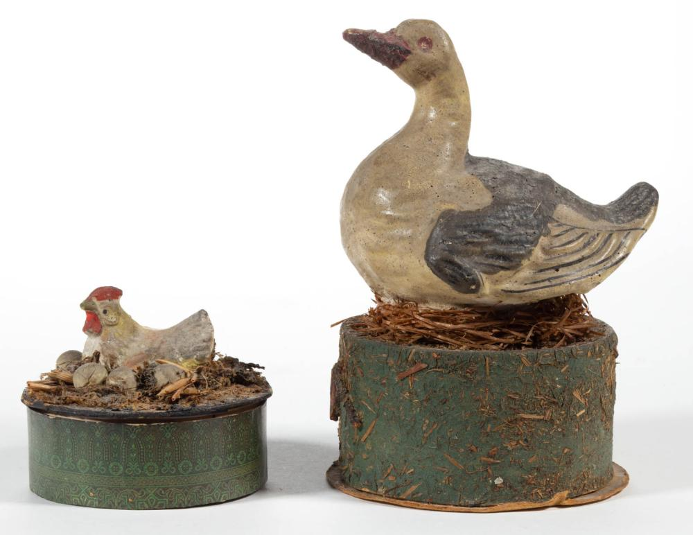GERMAN COMPOSITION / PAPIER MACHE BIRD-ON-NEST CANDY CONTAINERS, LOT OF TWO