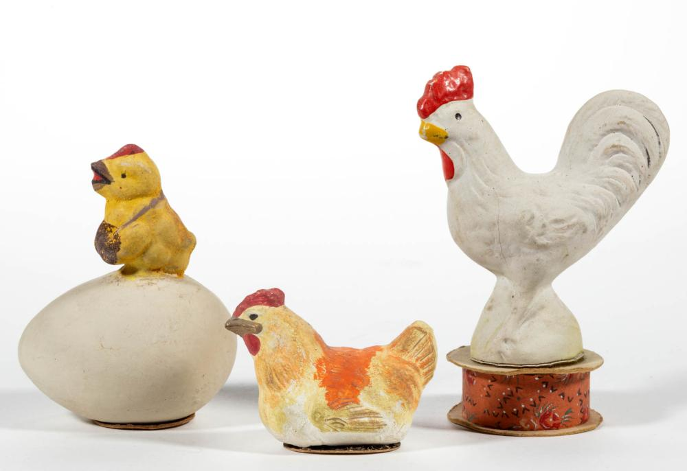 GERMAN COMPOSITION / PAPIER MACHE CHICKEN CANDY CONTAINERS, LOT OF THREE