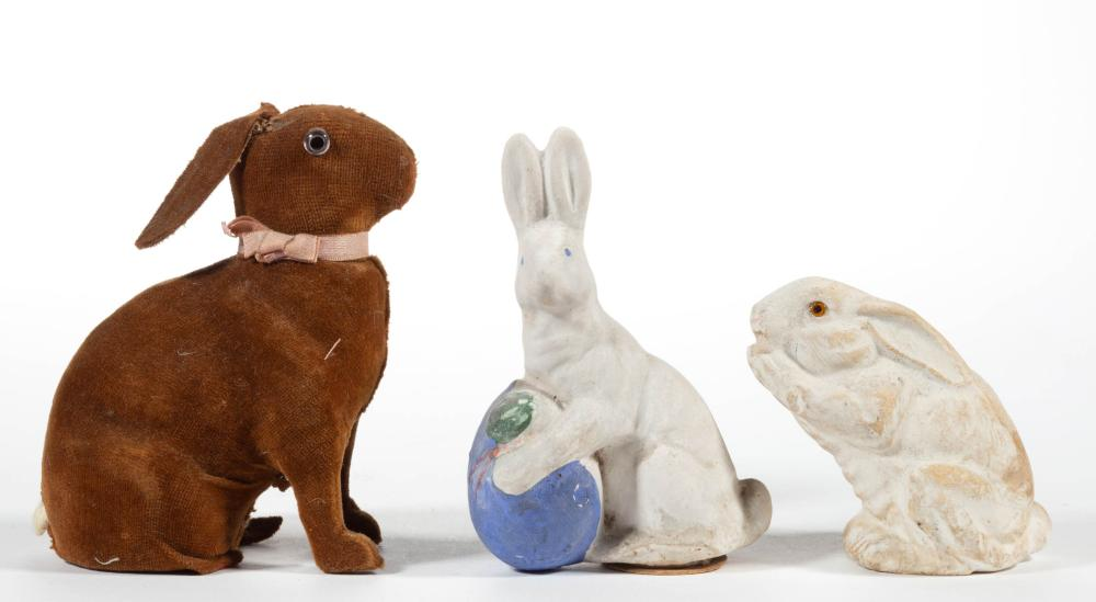 GERMAN COMPOSITION / PAPIER MACHE RABBIT CANDY CONTAINERS, LOT OF THREE