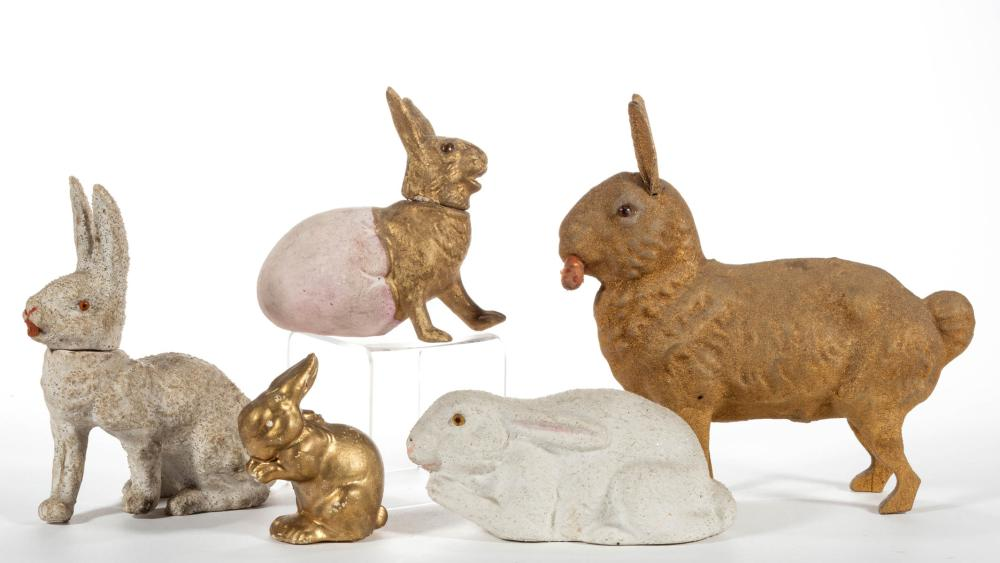 GERMAN RABBIT CANDY CONTAINERS, LOT OF FIVE