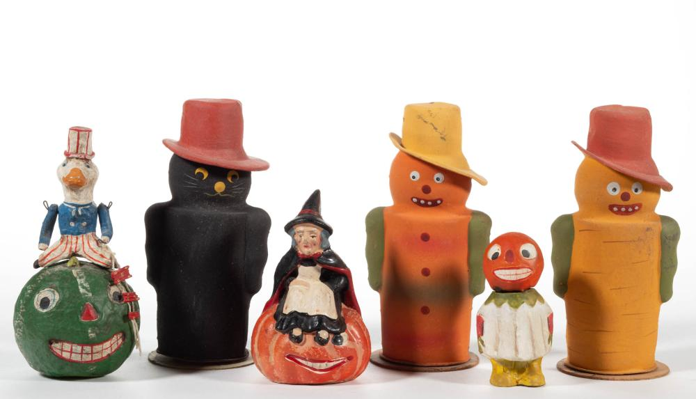 VINTAGE / REPRODUCTION HALLOWEEN CANDY CONTAINERS, LOT OF FIVE