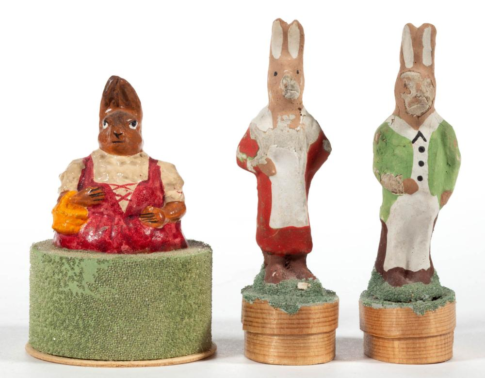 GERMAN COMPOSITION / PAPIER MACHE SMALL RABBIT CANDY CONTAINERS, LOT OF THREE