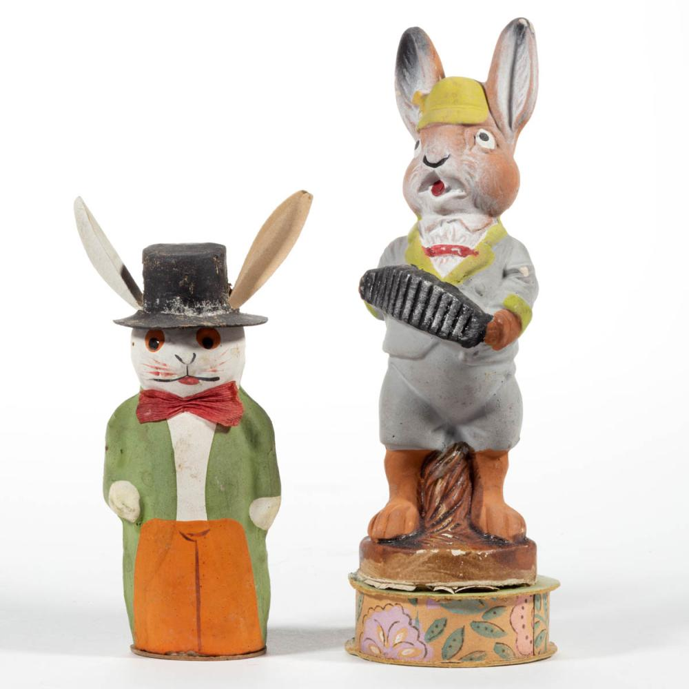 GERMAN ANTHROPOMORPHIZED RABBIT CANDY CONTAINERS, LOT OF TWO