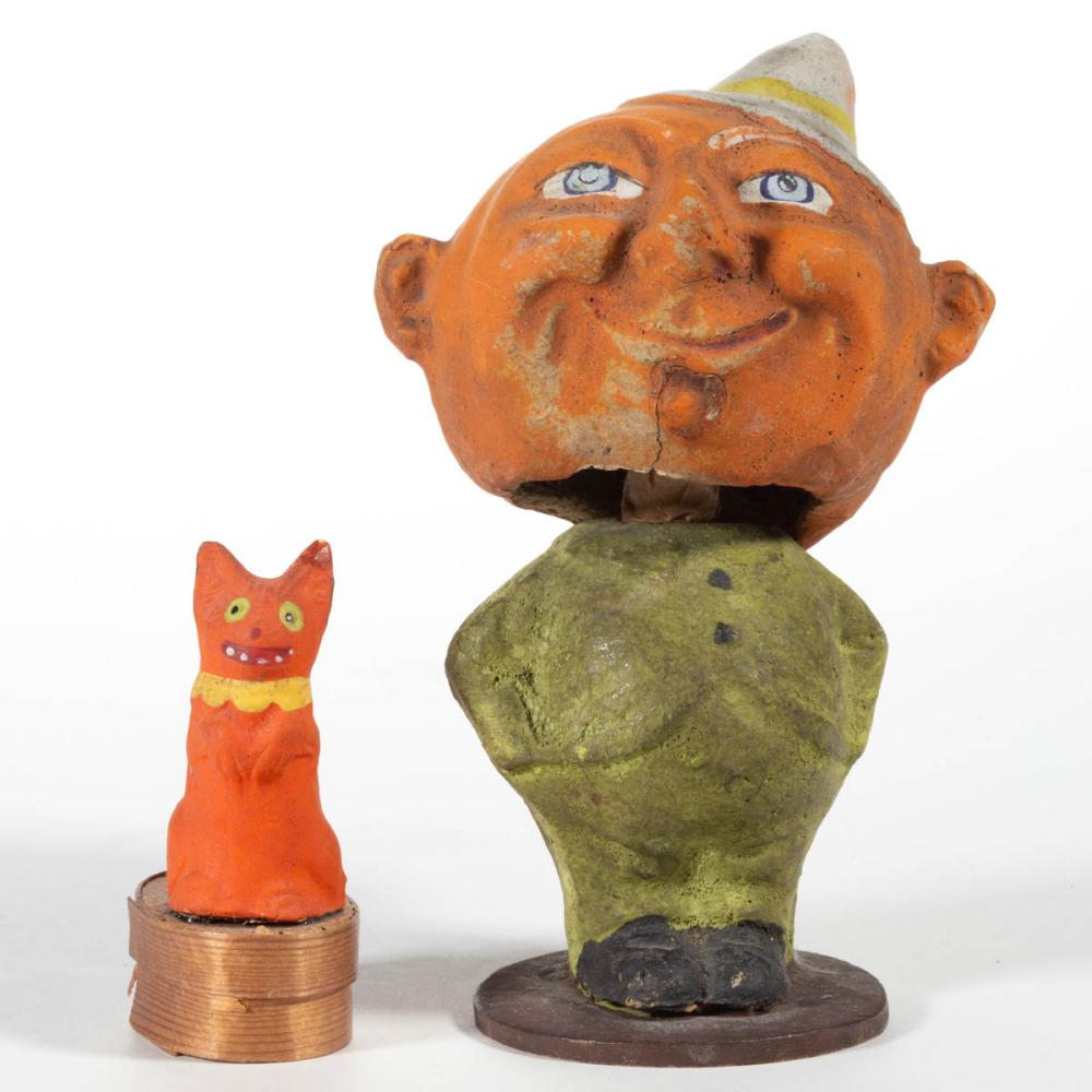 GERMAN COMPOSITION / PAPIER MACHE HALLOWEEN FIGURAL ARTICLES, LOT OF TWO