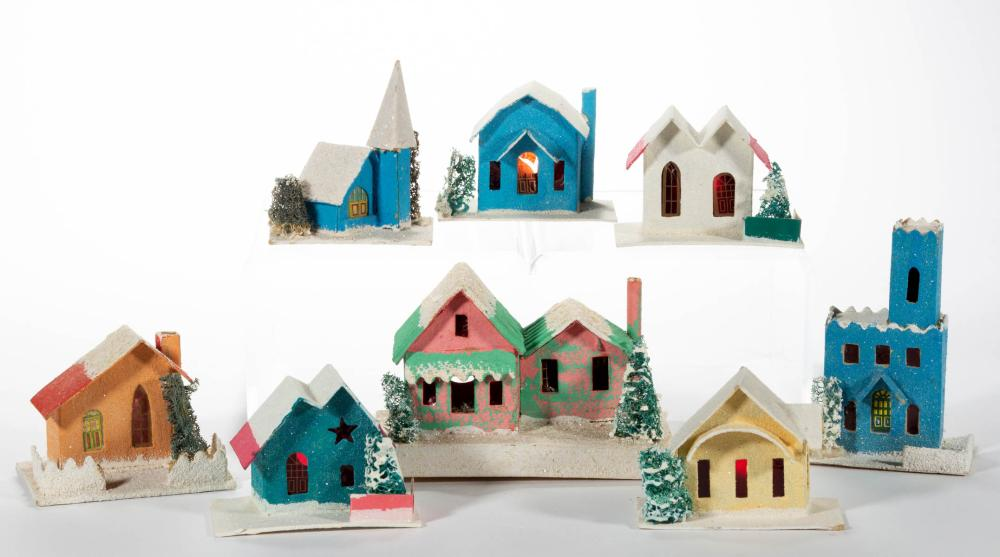 JAPANESE MINIATURE CARDBOARD CHRISTMAS HOUSES, LOT OF EIGHT