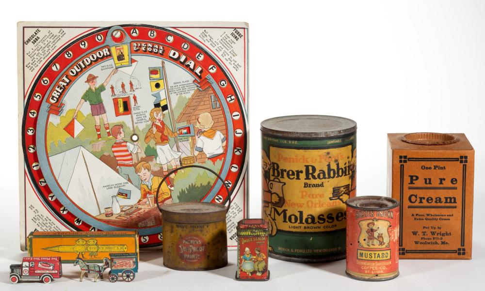 ANTIQUE / VINTAGE TIN AND OTHER ADVERTISING ARTICLES, LOT OF NINE