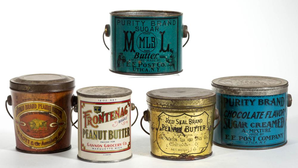 PEANUT BUTTER AND OTHER ADVERTISING LITHOGRAPHED TIN PAILS / CONTAINERS, LOT OF FIVE