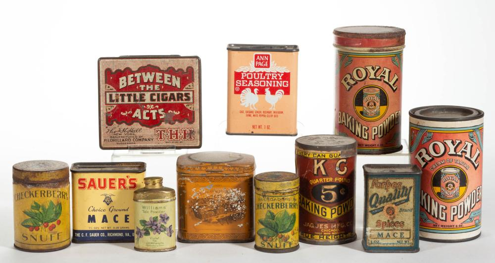 ANTIQUE / VINTAGE ADVERTISING LITHOGRAPHED TIN AND CARDBOARD CANISTERS, LOT OF 11