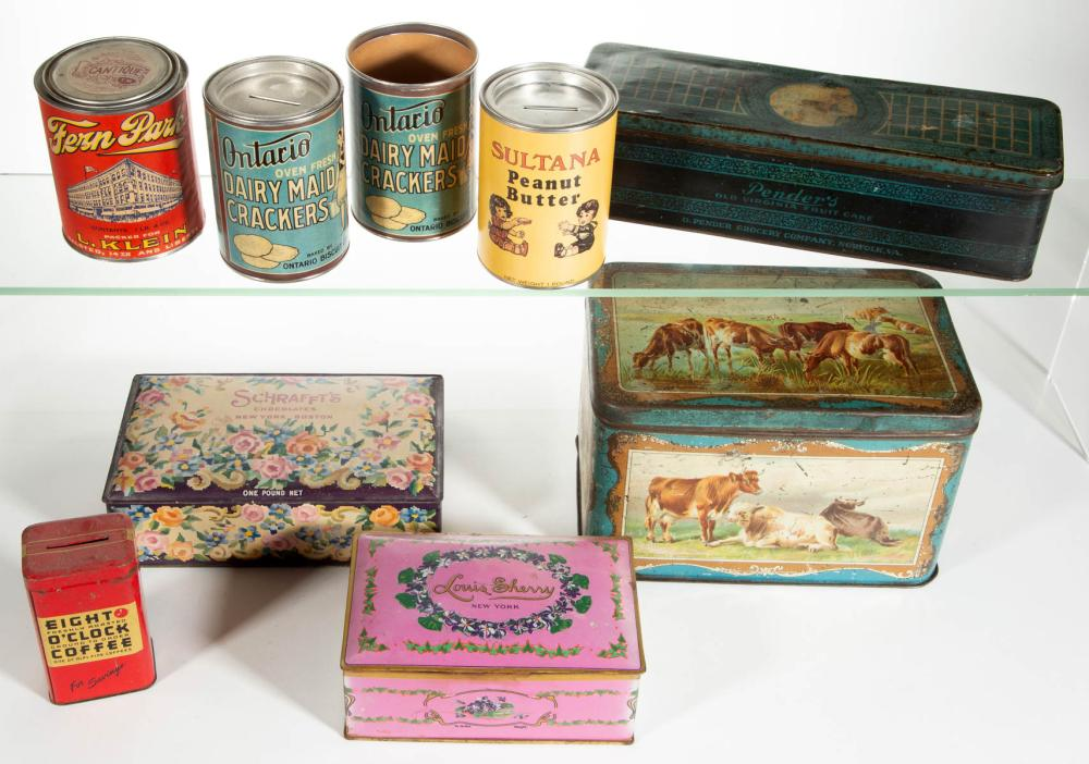 ASSORTED ADVERTISING LITHOGRAPHED TIN CONTAINERS, LOT OF FIVE