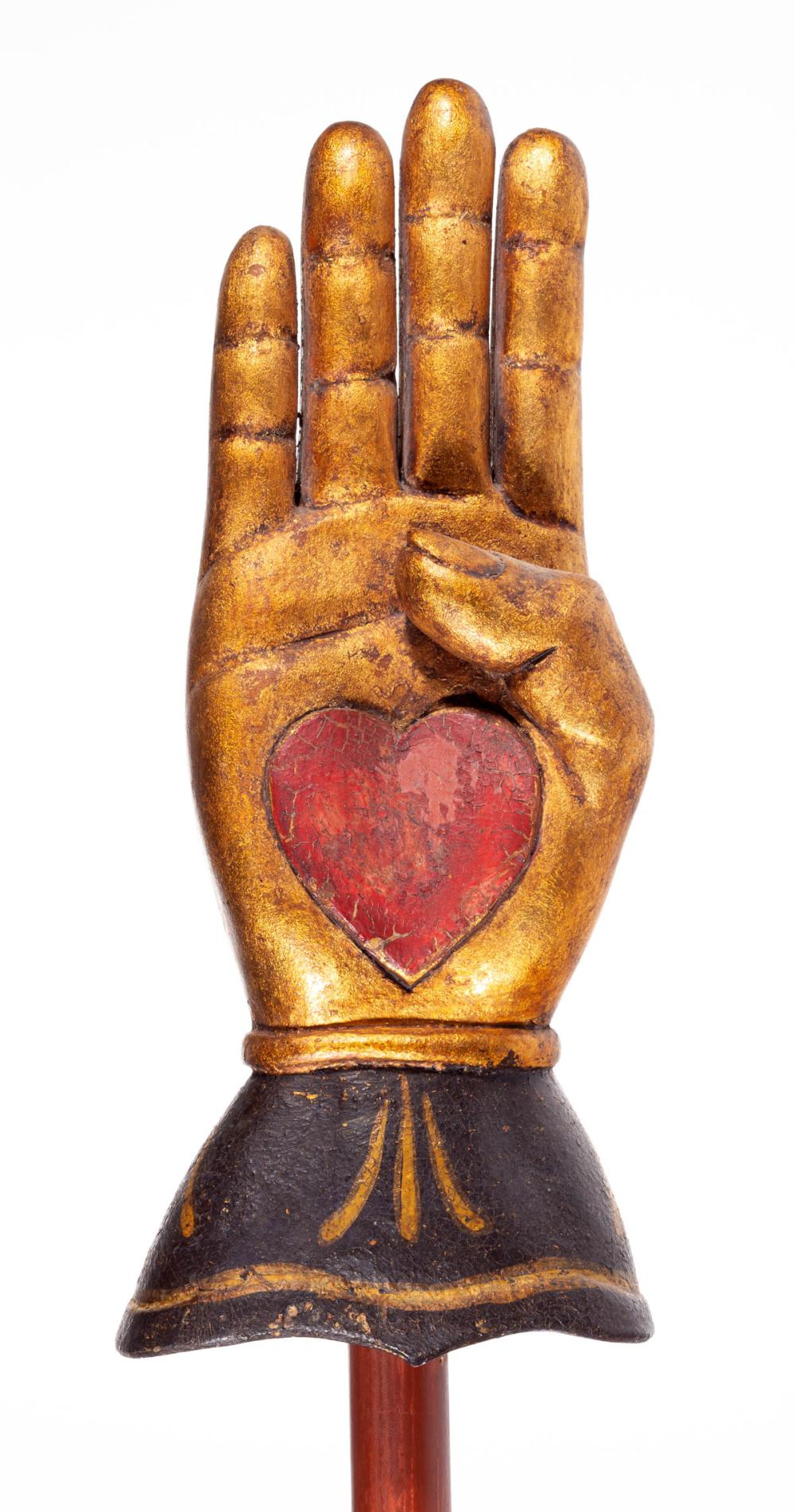 AMERICAN FOLK ART CARVED AND PAINTED ODD FELLOWS HEART-IN-HAND STAFF