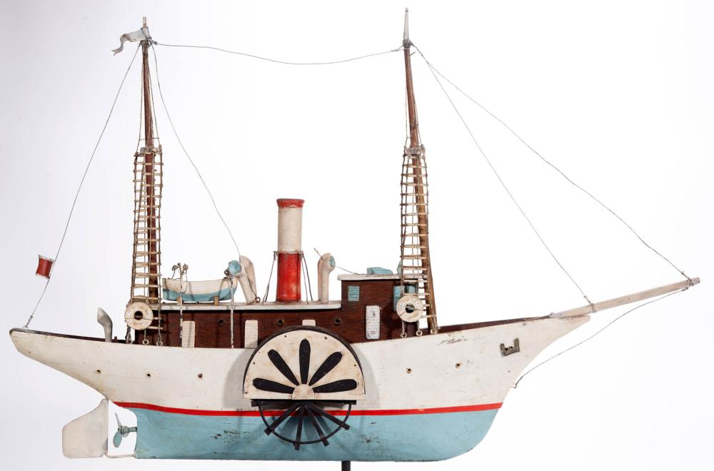 FOLK ART CARVED AND PAINTED METAL AND WOOD BOAT / SIDEWHEELER MODEL
