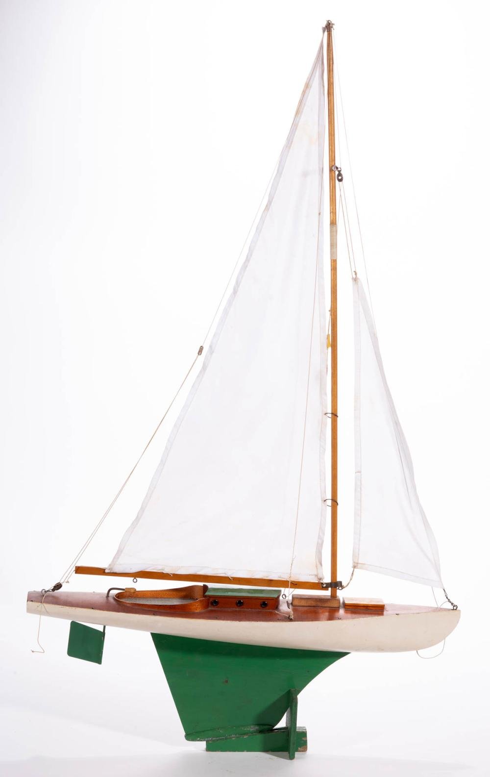 AMERICAN PAINTED AND CARVED WOOD POND / SAILBOAT MODEL