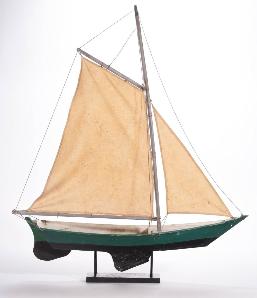 FOLK ART CARVED AND PAINTED WOOD POND SAILBOAT