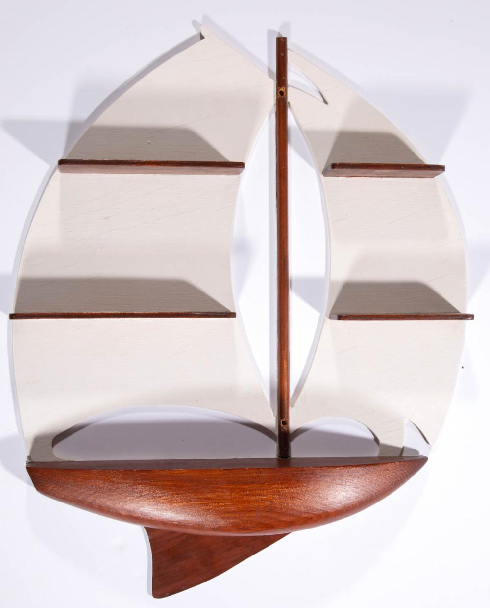 AMERICAN FOLK ART CARVED AND PAINTED SAILBOAT SHELF