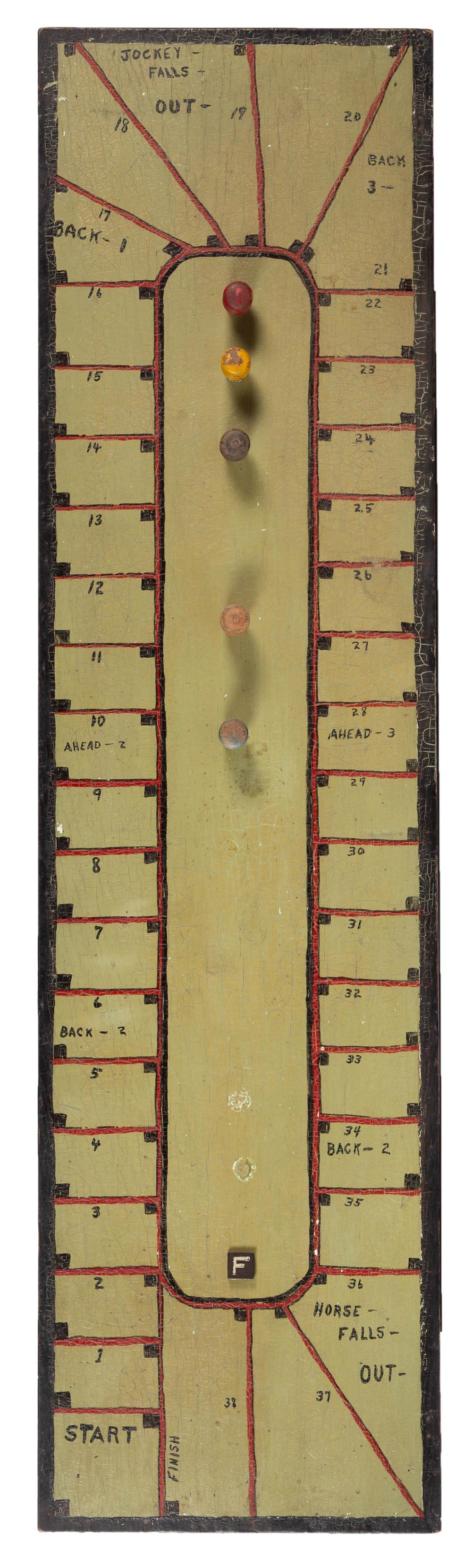 AMERICAN PAINTED WOOD HORSE RACING GAMEBOARD