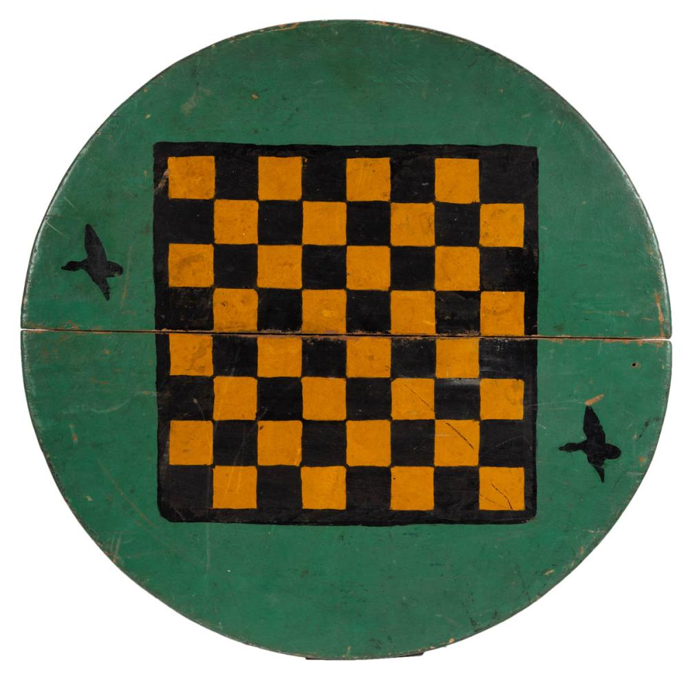 AMERICAN PAINT-DECORATED BARREL LID GAMEBOARD