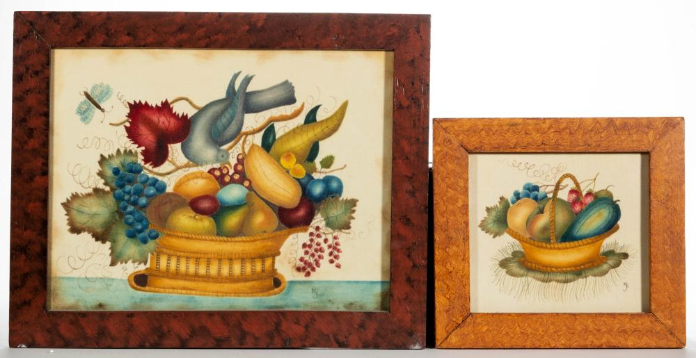 AMERICAN FOLK ART THEOREM PAINTINGS, LOT OF TWO