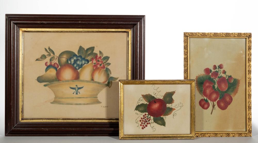 CONTEMPORARY FOLK ART FRUIT THEOREM PAINTINGS, LOT OF TWO