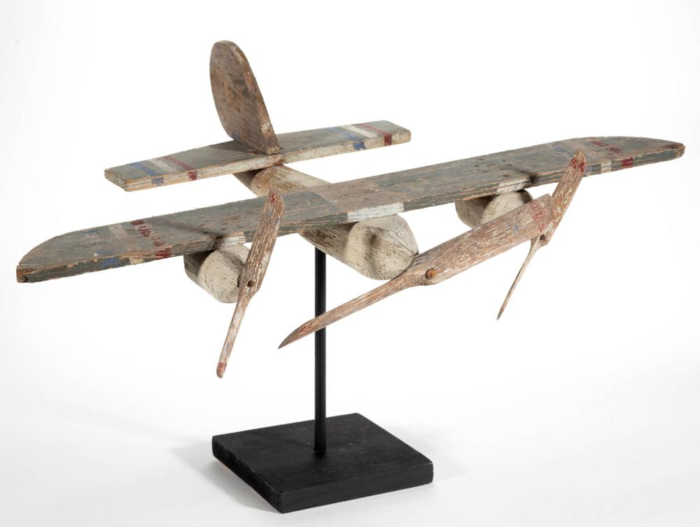 FOLK ART CARVED AND PAINTED AIR PLANE WHIRLIGIG