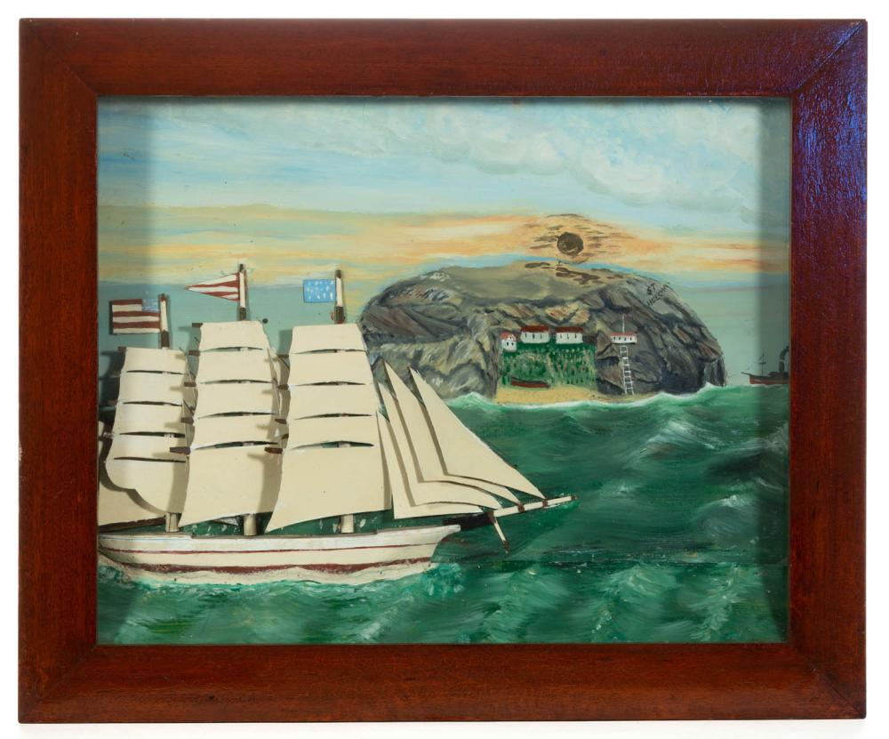 FOLK ART CARVED AND PAINTED SHIP DIORAMA