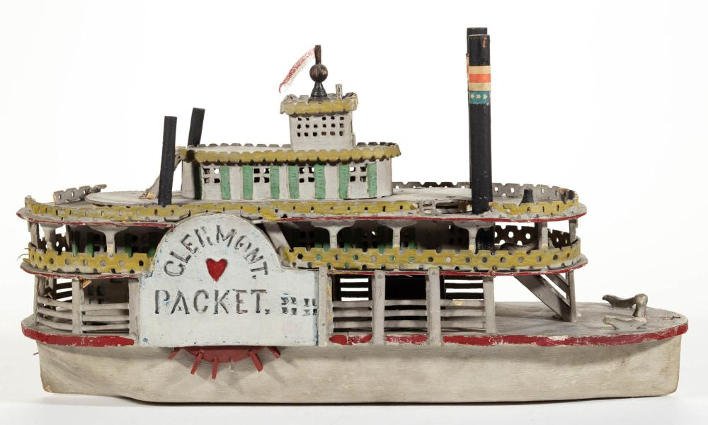 AMERICAN FOLK ART PAINTED WOOD RIVER PADDLE STEAMER