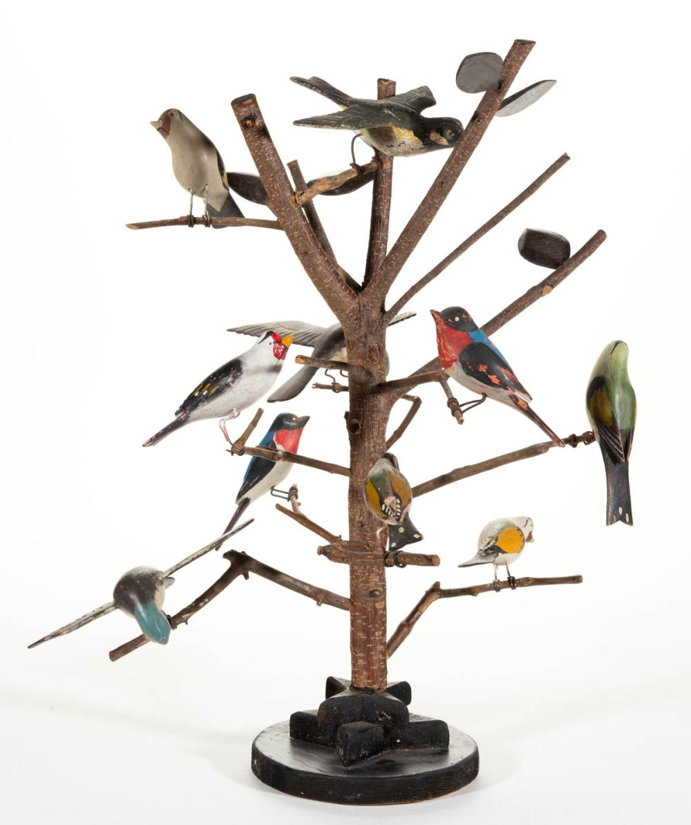 FOLK ART CARVED AND PAINTED WOOD BIRD TREE