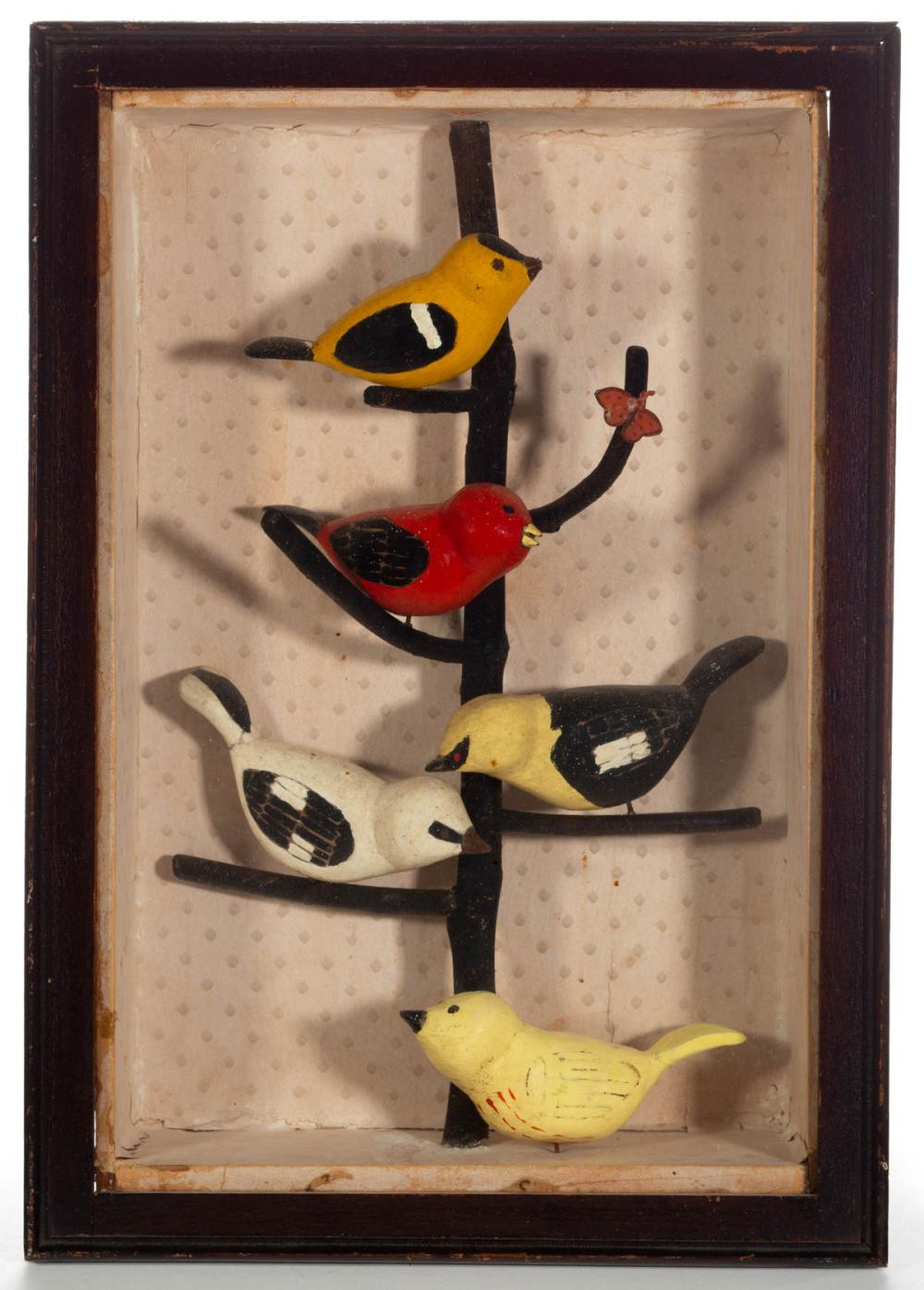 FOLK ART CARVED AND PAINTED BIRD TREE DIORAMA
