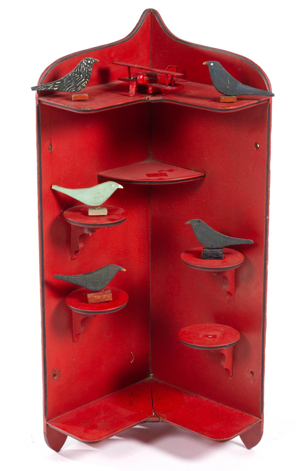 FOLK ART CARVED AND PAINTED WALL SHELF WITH BIRDS