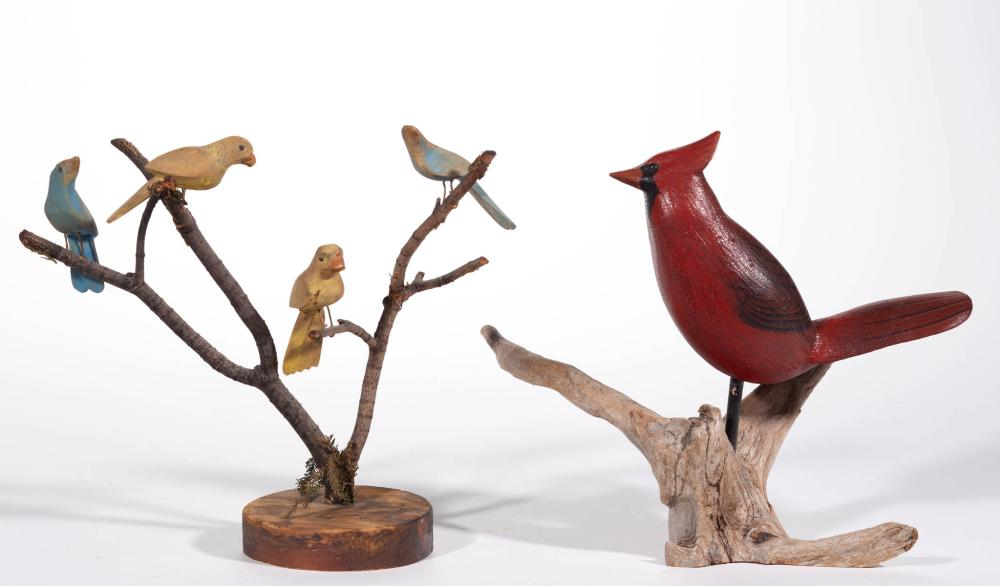 AMERICAN FOLK ART CARVED AND PAINTED WOOD BIRDS, LOT OF TWO
