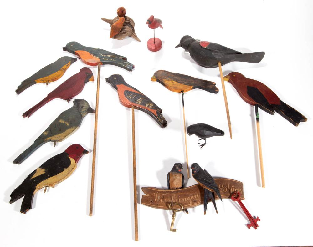 AMERICAN OR GERMAN CARVED AND PAINTED BIRDS, LOT OF 13