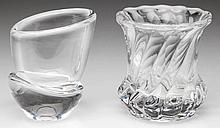 STEUBEN AND BACCARAT GLASS TOOTHPICK / MATCH HOLDERS, LOT OF TWO