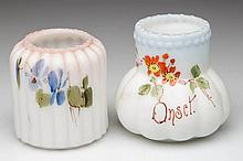 AMERICAN ART GLASS TOOTHPICK HOLDERS, LOT OF TWO