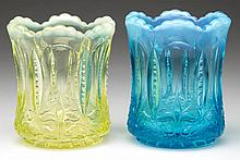 IRIS WITH MEANDER TOOTHPICK HOLDERS, LOT OF TWO