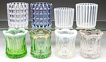 OPALESCENT AND OTHER GLASS TOOTHPICK HOLDERS, LOT OF EIGHT
