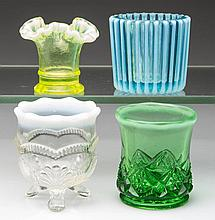 ASSORTED OPALESCENT GLASS TOOTHPICK AND RELATED HOLDERS, LOT OF FOUR