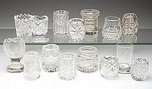 ASSORTED CUT / ENGRAVED GLASS TOOTHPICK HOLDERS, LOT OF 15
