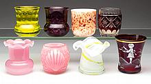 ASSORTED GLASS TOOTHPICK HOLDERS, LOT OF EIGHT