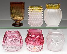 ASSORTED GLASS TOOTHPICK HOLDERS, LOT OF SIX