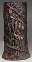 AMERICAN PAINTED MOLDED EARTHENWARE / REDWARE UMBRELLA STAND