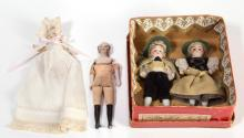 ASSORTED GERMAN BISQUE-HEAD MINIATURE DOLLS, LOT OF FOUR