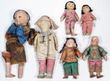 ASIAN CLOTH AND COMPOSITION DOLLS, LOT OF SIX