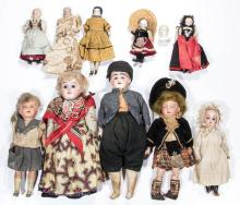 ASSORTED GERMAN BISQUE- AND CHINA-HEAD DOLLS, LOT OF 11