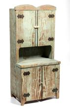 SOUTHERN PAINTED YELLOW PINE DOLL STEP-BACK CUPBOARD