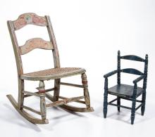 ASSORTED AMERICAN PAINT-DECORATED WOODEN DOLL CHAIR AND ROCKER