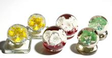 ASSORTED FLORAL PAPERWEIGHT BOOKENDS, LOT OF SIX