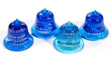 BELL TELEPHONE ADVERTISING PAPERWEIGHTS, LOT OF FOUR