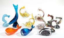 ASSORTED FIGURAL FISH GLASS SCULPTURES / FIGURINES, LOT OF 13