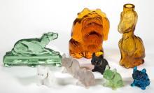 ASSORTED DOG GLASS FIGURES, LOT OF NINE