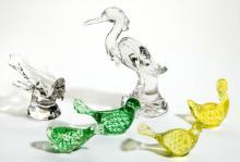 ASSORTED GLASS BIRD SCULPTURES / FIGURES, LOT OF SIX