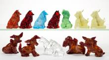 ASSORTED DOG GLASS FIGURES, LOT OF 13